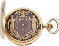 Timepieces:Pocket (post 1900), Swiss Gold Minute Repeater with Automaton, circa 1910. ...