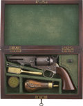 "Military & Patriotic:Civil War, Factory Cased Manhattan .36 Caliber Percussion Revolver, #26869 Matching, 4"" Barrel, Five Shot. Factory walnut case with gre..."