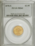 Liberty Quarter Eagles: , 1878-S $2 1/2 MS61 PCGS. PCGS Population (32/79). NGC Census:(110/153). Mintage: 178,000. Numismedia Wsl. Price for NGC/PC...