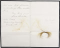 Political:Presidential Relics, [William H Seward and Edwin M. Stanton] Locks of Hair of Lincoln's Most Significant Cabinet Members, William H Seward and Edwi... (Total: 2 Items)