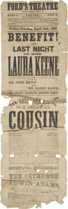 "Miscellaneous:Ephemera, [Abraham Lincoln] Ford's Theatre Broadside: Our AmericanCousin, 5.75"" x 18"", [Washington], printed by J. A. Pol..."