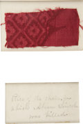Political:Presidential Relics, [Abraham Lincoln Assassination] A Fragment of Cloth from the Rocking Chair in Which Abraham Lincoln Was Assassinated. A piec...