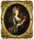 Fine Art - Painting, European:Antique  (Pre 1900), After ELISABETH LOUISE VIGÉE-LEBRUN (French, 1755-1842). MarieAntoinette at Versailles. Oil on canvas. 42-1/4 x 34-3/4 ...