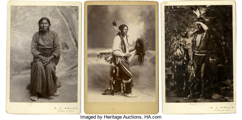 Three Cabinet Card Photographs of Sioux Indians, circa 1880s