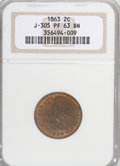 Patterns, 1863 2C Two Cents, Judd-305, Pollock-370, R.4, PR63 Brown NGC....