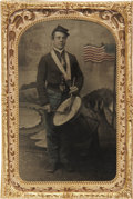 Military & Patriotic:Civil War, CDV-Size Tintype of a Young Federal Drummer. Wears shell jacket and kepi, trousers tinted blue. Drum suspended from cloth sl...