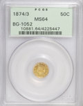 California Fractional Gold: , 1874/3 50C Indian Round 50 Cents, BG-1052, High R.4, MS64 PCGS.PCGS Population (13/3). NGC Census: (2/2). (#10881)...