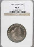 Early Half Dollars: , 1807 50C Draped Bust VF30 NGC. NGC Census: (63/496). PCGSPopulation (77/489). Mintage: 301,076. Numismedia Wsl. Price for...