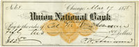 """Philip H. Sheridan Autograph Check Signed """"P. H. Sheridan"""", Payable to and Endorsed by His B"""
