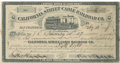 Transportation:Railroad, 1887 San Francisco Cable Car Railroad Stock Certificate. ...