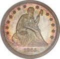 Proof Seated Quarters, 1863 25C PR65 PCGS. CAC....