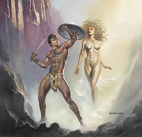 "Boris Vallejo - ""Perseus Defeats Medusa"" Painting Original Art (1988)"