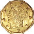 California Fractional Gold: , 1871 25C Liberty Octagonal 25 Cents, BG-715, Low R.6, MS66 PCGS. Apleasing tan-gold Premium Gem. The surfaces appear immac...