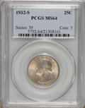 Washington Quarters, 1932-S 25C MS64 PCGS....