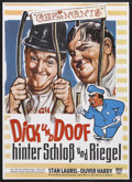 "Movie Posters:Comedy, Pardon Us (MGM, R-1960s). German Poster (24"" X 33""). Comedy. Starring Stan Laurel, Oliver Hardy, June Marlowe, Wilfred Lucas..."