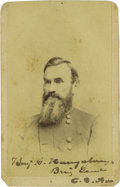 Autographs:Military Figures, Confederate Brigadier General Benjamin G. Humphreys Signed Carte de Visite. Humphreys entered West Point in the same cla...