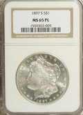 1897-S $1 MS65 Prooflike NGC. This lustrous Gem is virtually brilliant, with only a whisper of gold toning on each side...