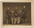 """Military & Patriotic:Civil War, Striking 10 1/8"""" X 8 1/8"""" Civil War Albumen Portrait of Five Soldiers including Sgt. William Marland. Marland was awarded th..."""