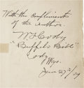Autographs:Authors, Buffalo Bill (Col. W. F. Cody) Signed True Tales of thePlains (New York, 1908)....