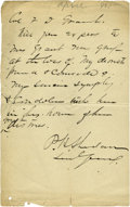 Autographs:Military Figures, Phillip H. Sheridan Autograph Letter Signed to Frederick Dent Grant....