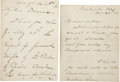 "Autographs:Military Figures, Philip Sheridan, Two Autograph Letters Signed, ""P. H. Sheridan""...."