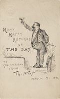 Autographs:Artists, Thomas Nast: Signed Original 1882 Pen & Ink Self-PortraitWishing General Philip H. Sheridan a Happy Birthday....