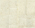 "Political:Civil War, Dr. Samuel Mudd Autograph Letter Signed ""Saml. A Mudd"", three lined pages, 5"" x 8"", ""Fort Jefferson, Dry Tortugas, Fla..."