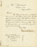 """Military & Patriotic:Civil War, Edwin M. Stanton Letter Signed, while secretary of war. One page, 8"""" x 10"""", on departmental letterhead, one lined page, """"Was..."""