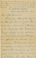 "Autographs:Military Figures, Union General William T. Sherman Autograph Letter Signed ""W. T.Sherman"", four pages, 5"" x 8"", on his ""912 Garrison Aven..."