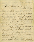 "Military & Patriotic:Civil War, Edwin Booth Autograph Letter Signed ""Ever yours / Edwin"" to ""Dear Lorimer"" (James Lorimer Graham), three pages, 4.5""... (Total: 3 Items)"