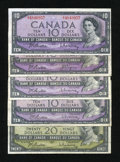 Canadian Currency: , Ottawa, ON- Bank of Canada $10 1954 (Four Examples); $20 1954. ...(Total: 5 notes)