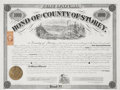 Transportation:Railroad, $1000 Bond for the County of Storey, Virginia City, Nevada, 1869....