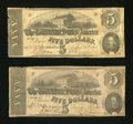 Confederate Notes:1862 Issues, T53 $5 1862; T60 $5 1863.. ... (Total: 2 notes)