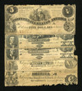 Confederate Notes:Group Lots, T13 $100. T18 $20. T20 $20 Two Examples. T36 $5. . ... (Total: 5notes)