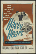 "Movie Posters:War, Hasty Heart (Warner Brothers, 1950). One Sheet (27"" X 41""). War...."
