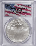 Modern Bullion Coins, 2001 $1 Silver Eagle Gem Uncirculated PCGS. 9-11-01 WTC Ground ZeroRecovery. (...