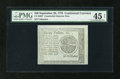 Colonial Notes:Continental Congress Issues, Continental Currency Blue Counterfeit Detector September 26, 1778$20 PMG Choice Extremely Fine 45 Net....