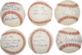 Autographs:Baseballs, Hall of Famers Signed Inscription Baseballs Lot of 6....