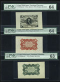 Fractional Currency:Third Issue, Fr. 1236/38SP 5c Third Issue Wide Margin Set of Three PMG Choice Uncirculated 64. and Choice Uncirculated 63.... (Total: 3 notes)
