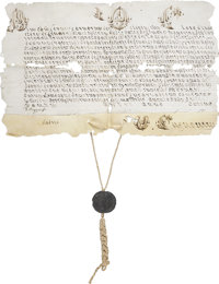 "[Pius IX] Manuscript Papal Document. One page with notations on the verso, 17"" x 10"", on vellum, date and plac..."
