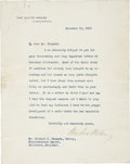 "Autographs:U.S. Presidents, Woodrow Wilson Typed Letter Signed. Typed on one of the fourintegral pages, 7"" x 9"", November 18, 1915, Washington, D.C., o..."