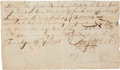 "Autographs:Statesmen, Zebulon Pike Document Signed, ""Zebu. Pike"". Two page, frontand verso, 7.5"" x 4.5"", April 16, 1798, Fort Massac [Ill... (Total:2 Items)"