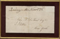 "Autographs:U.S. Presidents, John Adams Signature, ""J. Adams"". One page, 5"" x 2.75""(sight size), November 23 [?], Quincy, Massachusetts. An ..."