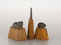 BENIAMINO BENEVENUTO BUFANO (Italian/American, 1898-1970) Three Bronze Sculptures: Rabbit, Cat, and Mouse 9-1/8