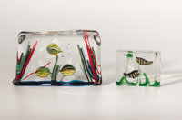 "ALFREDO BARBINI (Italian, b. 1912) Two ""Aquarium"" Glass Sculptures, circa 1950 6 x 10 x 2 inches (15.2 x 25.4..."
