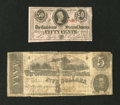 Confederate Notes:Group Lots, T53 $5 1862. T63 50¢ 1863.. ... (Total: 2 notes)
