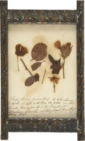 """Military & Patriotic:Civil War, """"These flowers presented to Christian E. Rahr of Co. B 5th Reg. M. V. M. in the White House garden by President Lincoln in the..."""