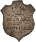 Military & Patriotic:Civil War, Extremely Rare, Historically Important Civil War Period Silver Shield Shaped Badge with T-bar Pin Back Inscribed in Shaded Blo...