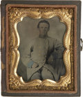 Military & Patriotic:Civil War, Early War 1/9 Plate Tintype of a Very Young Confederate 1st Lt. of Infantry. Wears double breasted frock coat with blue stan...