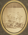 """Military & Patriotic:Civil War, Unusual 8"""" x 10"""" Early War Albumen View of Four Federal Infantrymen, remarkable pose, almost allegorical in nature. All are ..."""